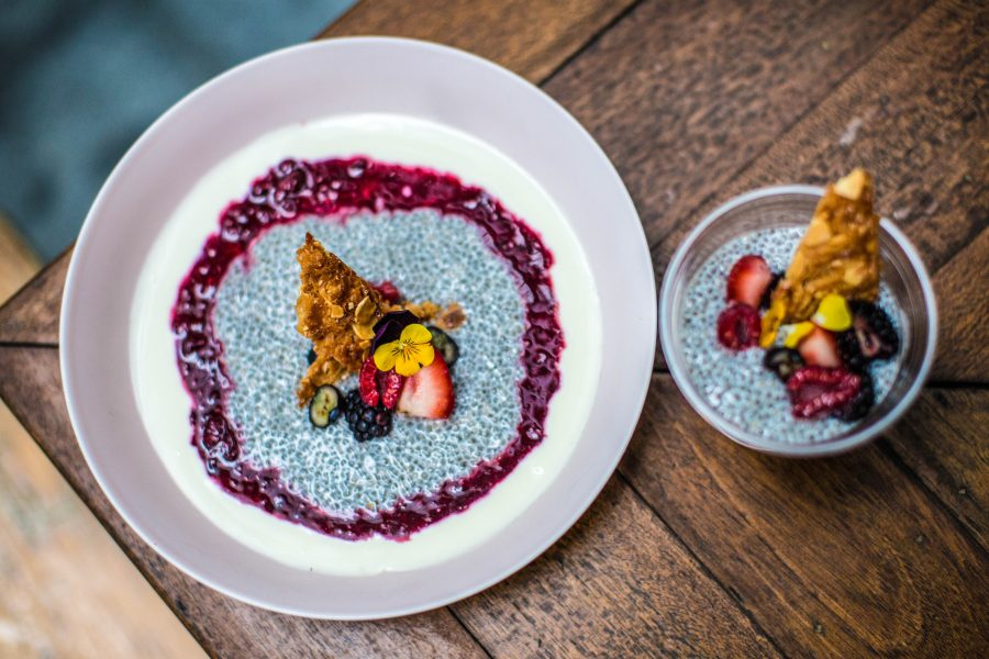 Summer Chia Pudding | honey greek yoghurt, berry compote and coconut crunch