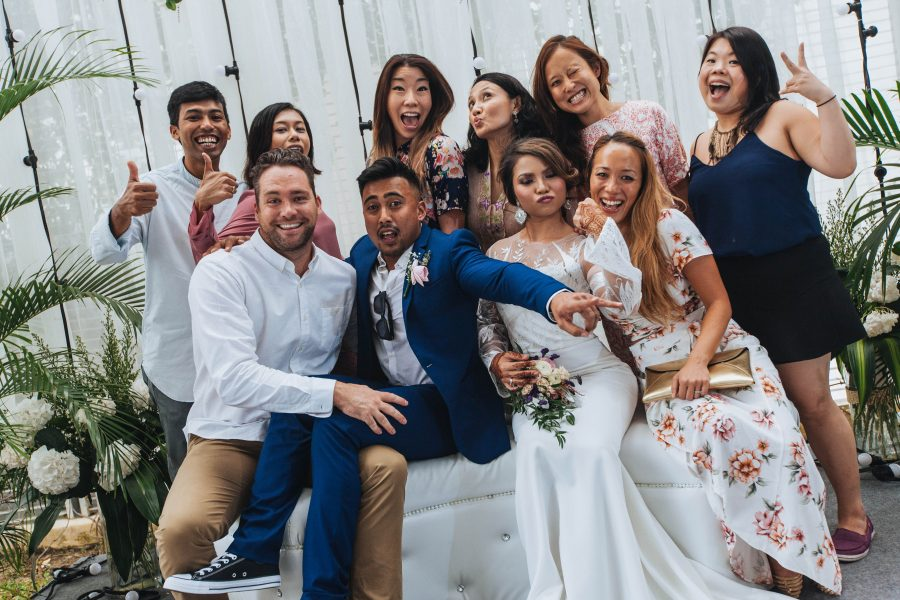 Together on wedding day... Ili, Zam, Pete and the extended #ymfam!